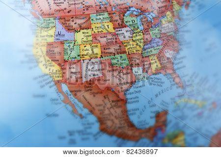 United States of America on globe