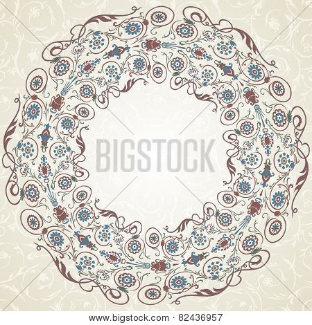 Decorative  seamless pattern in ottoman motif