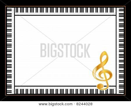 Music Poster  with Golden Treble Clef