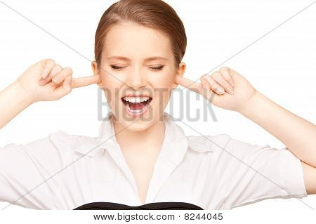 Woman With Fingers In Ears