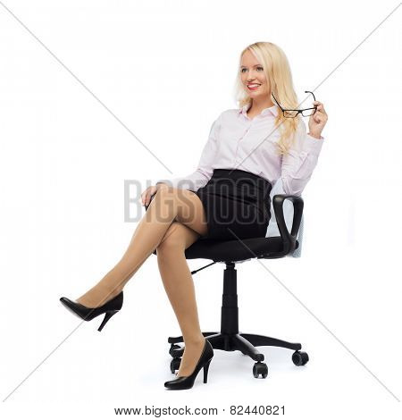 business, style and people concept - smiling businesswoman, student or secretary over white background