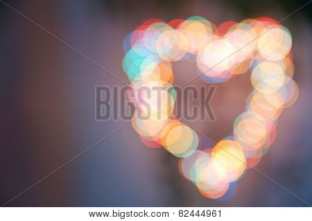Vintage styled heart abstract bokeh