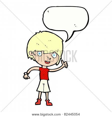 cartoon boy with positive attitude with speech bubble