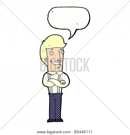 cartoon proud man with speech bubble