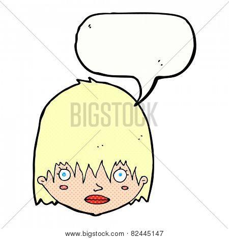 cartoon staring woman with speech bubble
