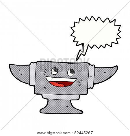 cartoon blacksmith anvil with speech bubble