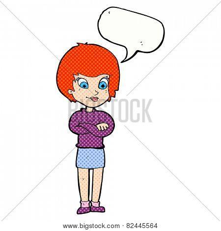 cartoon proud woman with speech bubble