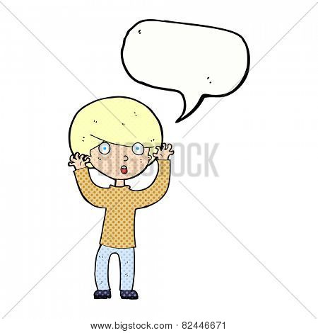 cartoon startled boy with speech bubble