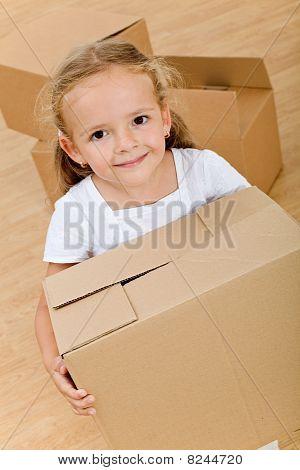 Little Girl With Cardboard Box - Closeup