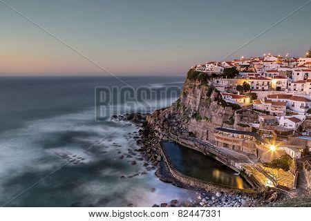 Portuguese Maritime Town Azenhas Do Mar. At Sunset.