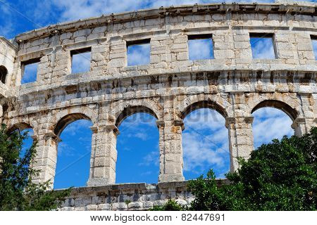 Detail of ancient Roman amphitheater in Pula Croatia