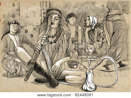 Smoking Hookah (harem) - An Hand Drawn Vector
