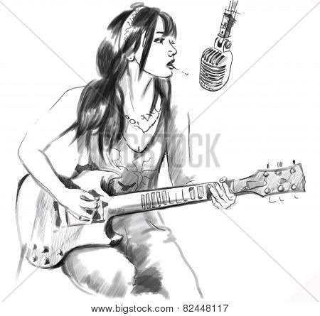 Smoking. Guitar Player. An Hand Drawn Vector, White