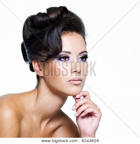 Glamour Woman With Modern Curly Hairstyle