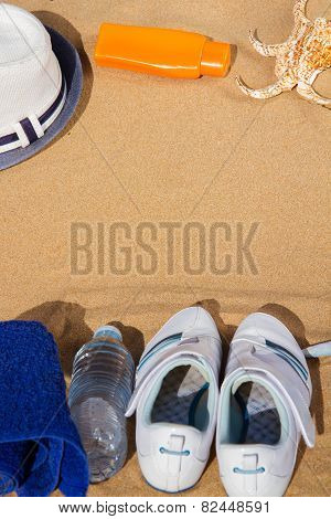 Summer Sport Concept - White Sneakers In Sand