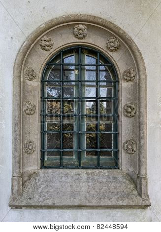 Antique Vintage Window. Decorated With Stone Carvings.