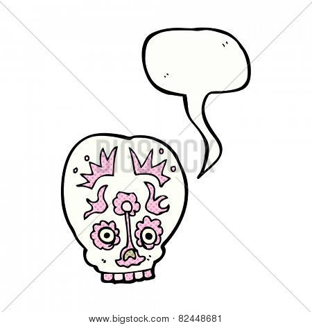 cartoon sugar skull with speech bubble