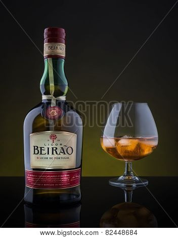 Faro, Portugal January 19, 2015: Licor Beirao Famous Portuguese Drink. Manufactured And Packed In J.