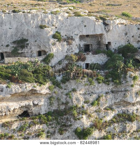 Caves in Mellieha valley, Malta