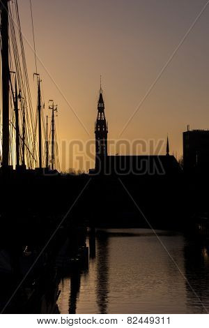 Silhouette Of Sailing Boats And The Jozef Cathedral In Groningen