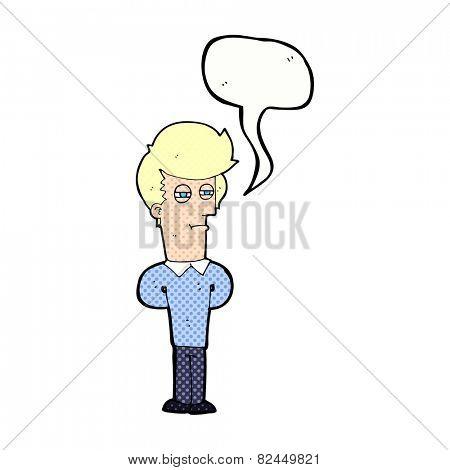 cartoon jaded man with speech bubble
