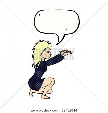 cartoon woman casting spell with speech bubble