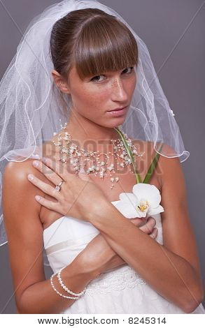 Sad Bride With Flower