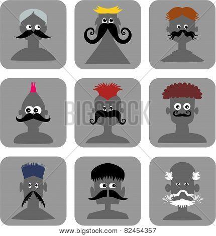 Funny Face Men - Web Icon Set