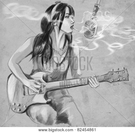 Smoking. Guitar Player. An Hand Drawn Full Sized Illustration.