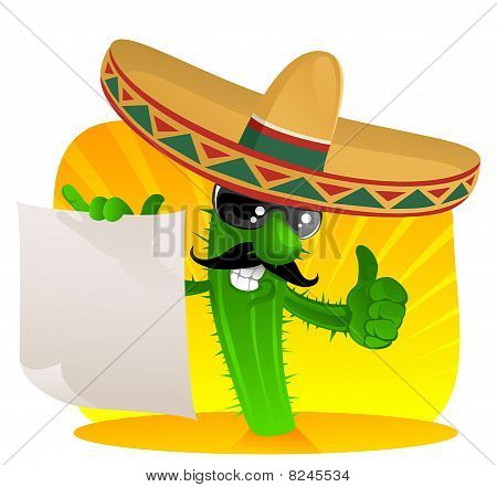 Mexican Cactus With Scroll