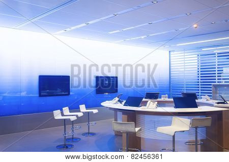 Modern video webinar conference room interior