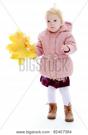 Adorable little girl in autumn clothes holding a bouquet of rose