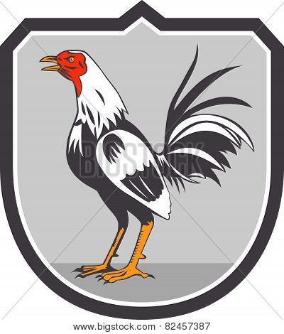 Cockerel Rooster Standing Shield Retro