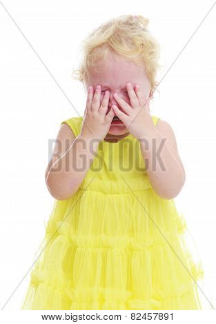 Pretty little girl crying