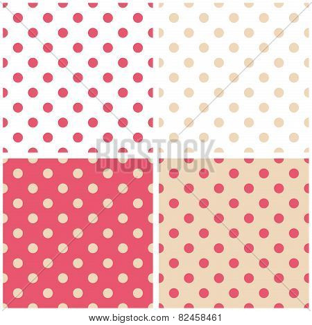 Pink, white and beige tile vector pattern set with polka dots on pastel background