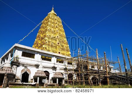 Bodhgaya Stupa Gold And Sky