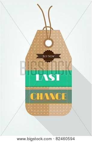 One seasonal, dotted sticker with text Last Chance, Buy Now, flat style
