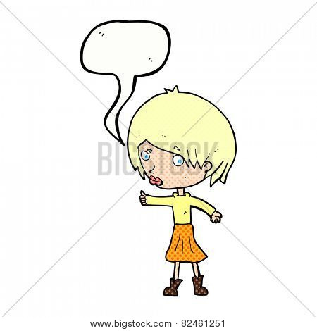 cartoon woman raising eyebrow with speech bubble