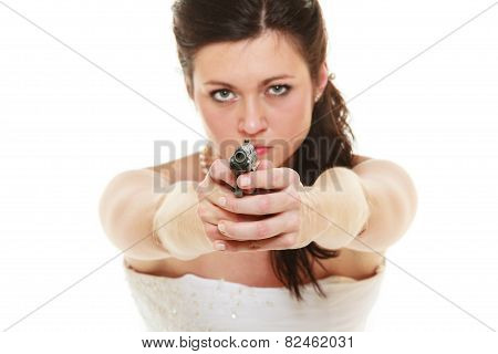 Angry Bride With Gun Isolated On White.