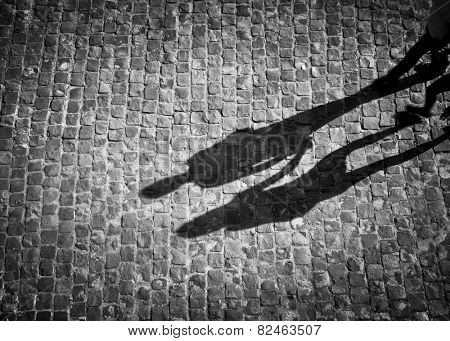 Shadow of couple holding hands in black and white with vignette