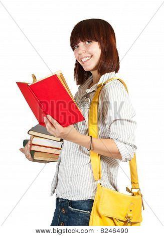 Colegiala con libros