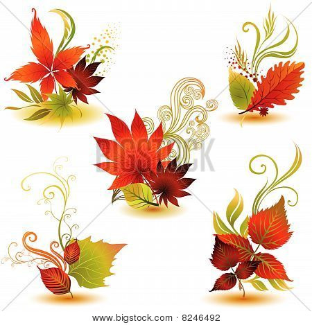 Vector set 3 of colorful autumn leafs