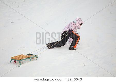 Little Girl Having Fun In Snow