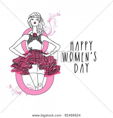 International Women's Day celebration with young girl in stylish pose on white background.