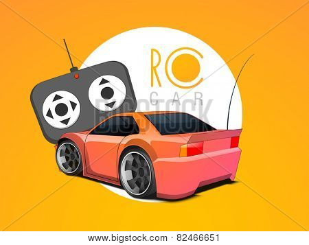 Stylish electronic toy car with remote control on colorful background.