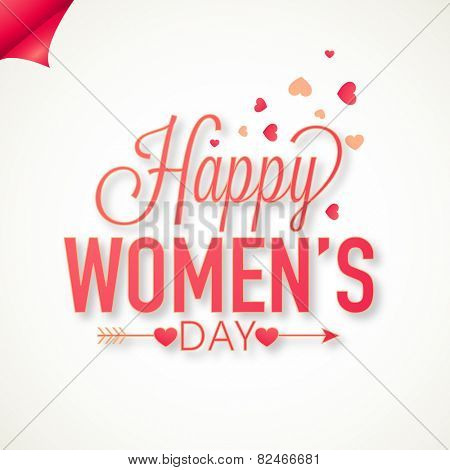 International Women's Day celebration greeting card design on hearts decorated white background.