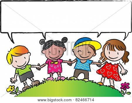 kids standing with a blank speech bubble