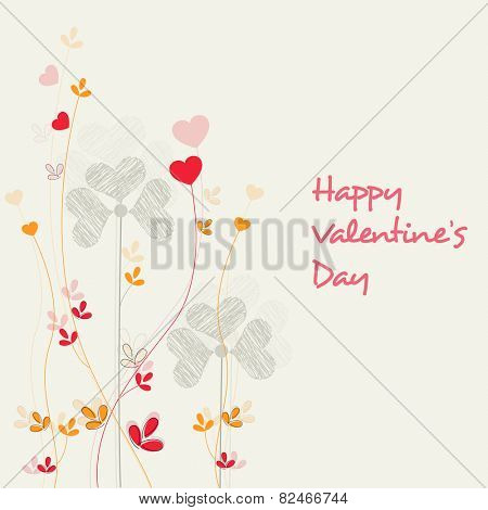 Happy Valentine's Day celebrations greeting card design decorated with hearts and flowers.