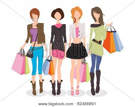 Young fashionable girls in modern dresses holding shopping bags on white background for International Women's Day celebration.
