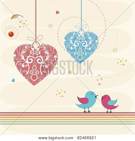 Floral decorated hanging hearts with cute love bird couple for Happy Valentines Day celebration on decorated background.